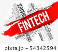 Fintech word cloud collage 54342594
