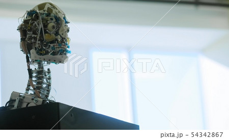 Futuristic humanoid female robot is idle. Concept of future. The head of a humanoid android humanoid 54342867