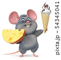 funny mouse with cheese and ice cream 54345041