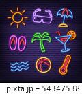 summer neon icons 54347538