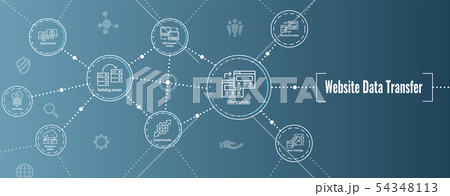 Website Data Transfer Icon Set and Web Header 54348113