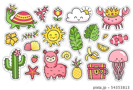 Tropical summer stickers. Vector illustrations. 54353813