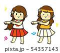 手描きのゆるいフラガール ダンス 54357143