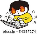 燃える パソコン こども ベクター あおきいろくん 54357274