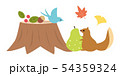 素材-秋,リスと小鳥1 54359324