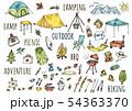手描きイラスト:キャンプ アウトドア 水彩カラー 54363370