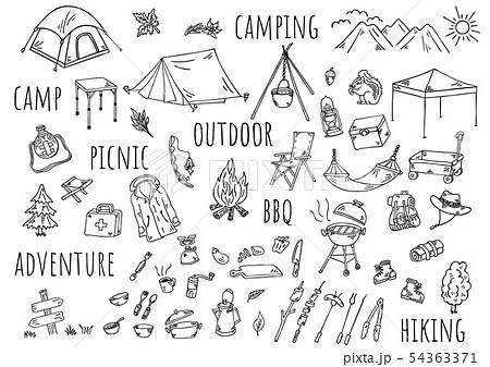 手描きイラスト:キャンプ アウトドア 54363371