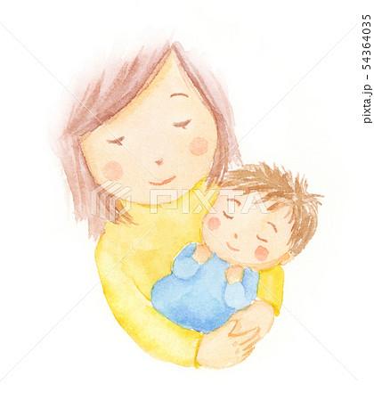 ママと眠っている赤ちゃん 水彩イラスト 54364035