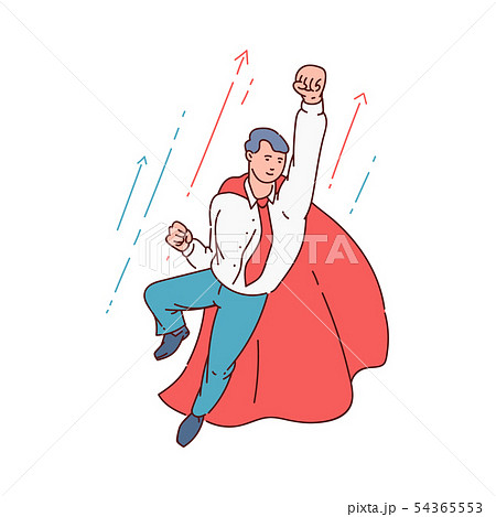 Superhero business man in office suit and red cape flying in confident pose with fist up 54365553