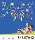 夜の花火と家族 54367942