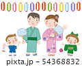 夏まつり_28(4人家族・親子)イラスト分離タイプ 54368832