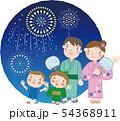 夏まつり_34(4人家族・親子・打ち上げ花火) 54368911