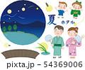 ホタル鑑賞 セット_36(4人家族・イラスト分離タイプ) 54369006