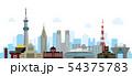 東京 街並み・ランドマーク・ビル群 ベクター背景イラスト 54375783