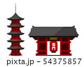 東京 建物・ランドマーク・ビルイラスト / 浅草・雷門・浅草寺・五重の塔 54375857