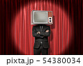 Front crop image of man in suit, with arms folded, and with TV set instead head, standing in 54380034