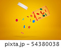 3d rendering of transparent plastic pill jar tilted in air with lid off and colorful poker chips 54380038