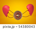 3d rendering of casino wheel suspended on chains between two parts of broken heart on yellow 54380043