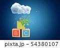 3d rendering of three ABC blocks standing under white raining cloud on blue copyspace background 54380107