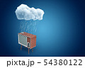 3d rendering of retro TV set standing under raining cloud on blue gradient background with copy 54380122