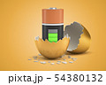 3d closeup rendering of almost full battery that just hatched out from golden egg. 54380132