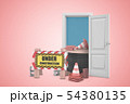 3d rendering of construction barrier, traffic cones and cord in white open doorway on light pink 54380135