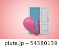 3d rendering of huge pink broken heart emerging from open door on pink gradient copyspace background 54380139