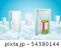 3d rendering of five doors standing on fluffy clouds, one door leading to green lawn with gift box 54380144