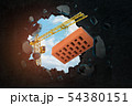 3d rendering of hoisting crane carrying red perforated brick and breaking hole in black wall with 54380151