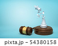 3d rendering of broken white chess king, its crumbs in air, standing on sounding block with gavel 54380158