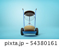 3d rendering of sand glass on a hand truck on blue background 54380161