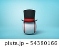 3d rendering of baseball wearing black tophat with much copy space on the rest of light blue 54380166