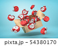 3d rendering of cardboard box in air full of bent deformed alarm clocks which are flying out and 54380170
