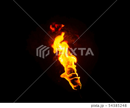 flame of a torch in the dark 54385248