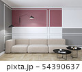 Empty interior with red geometric print on the wall. Sofa, coffee table and wood floor. 54390637