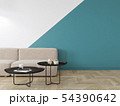 Empty interior with blue geometric print on the wall. Sofa, coffee table and wood floor. 54390642