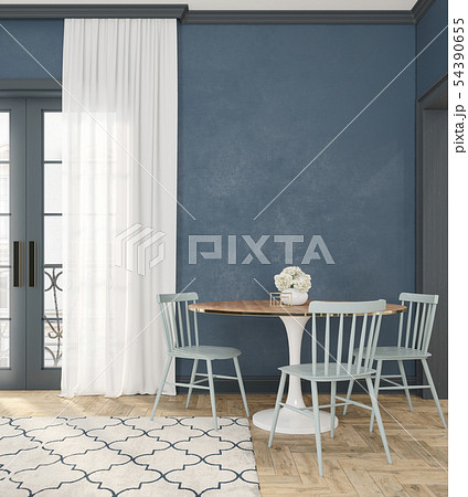Classic blue empty interior room with dinner table, chairs, curtain, wooden floor and flowers. 54390655