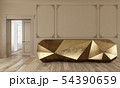Gold reception table in classic beige color interior with moldings and wooden floor. 54390659