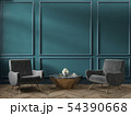 Classic green blue turquoise interior empty room with armchairs coffee table flowers mouldings 54390668