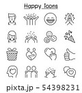 Happy icon set in thin line style 54398231