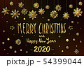 gold Merry Christmas and Happy New Year 2020 year 54399044