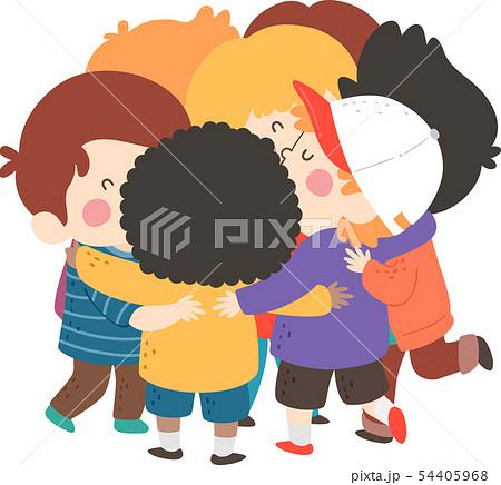 Kids Boys Group Hug Illustration 54405968