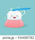 Cartoon teeth happy and brush the teeth cleaning 54406782
