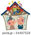 家庭内暴力に悩む老夫婦 54407328