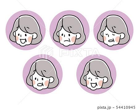 シニア女性・表情アイコンセット 54410945