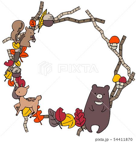 秋のかわいい丸フレームイラストのイラスト素材 54411870 Pixta