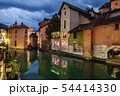 Annecy Thiou River with Castle in Evening 54414330