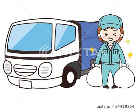 ゴミ清掃員の女性とゴミ収集車 54419254