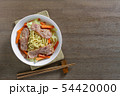 top view of stir fried japanese noodles with bacon 54420000