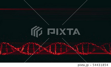 Red DNA molecule, 3D rendering 54431854